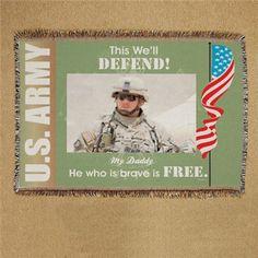 Army Photo Throw Blanket | Personalized Army Photo Throw Blanket