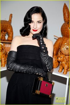 Dita Von Teese & Jena Malone Get Dressy For MCM Style Studio Party: Photo Dita Von Teese stuns in a black dress while attending MCM Pre-festival Style Studio Party at Chateau Marmont on Wednesday (April in West Hollywood, Calif. Dita Von Teese Burlesque, Dita Von Teese Style, Dita Von Tease, Gloves Fashion, Women's Fashion, Black Leather Gloves, Long Gloves, Beautiful Girl Image, Beautiful Women