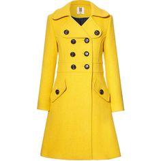 Orla Kiely Heavy Wool Trench Coat (£328) ❤ liked on Polyvore featuring outerwear, coats, jackets, coats & jackets, lichen, yellow wool coat, woolen coat, double-breasted coat, fitted coat and woolen trench coat