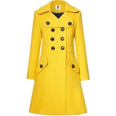 Orla Kiely Heavy Wool Trench Coat (£328) ❤ liked on Polyvore featuring outerwear, coats, jackets, coats & jackets, lichen, oversized wool coat, double breasted trench coat, yellow wool coat, double breasted wool coat and woolen coat