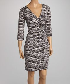 Look what I found on #zulily! Navy Blue & Taupe Zigzag Ruched Wrap Dress by AA Studio #zulilyfinds