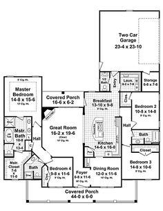 Plan #21-307 Main Level Make 4th BR oprn to GREAT ROOM with colums