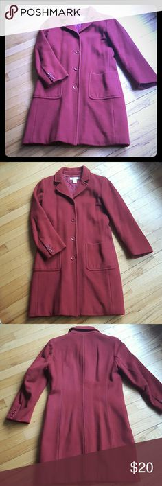 J. Crew Wool Coat Thinsulate Red wool coat. Petite small. Thinsulate lining J. Crew Jackets & Coats
