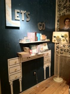 An adorable idea (desk painted on wall with real shelf over it) for kid's room!