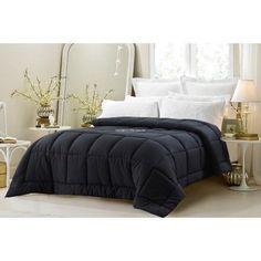 Super Oversized-Down Alternative Comforter- Fits Pillow Top Beds - Black (King) #Modern