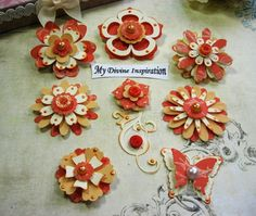 Orange and Ivory Paper Embellishments and Paper Flowers for Scrapbook Layouts Cards Mini Albums and Papercrafts