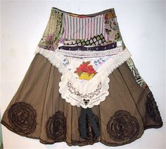 Eclectic Artisan SKIRT Altered Vintage Linens COLLAGE by mybonny gorsuch