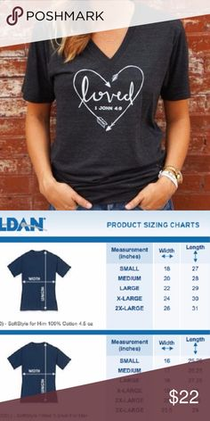 Loved V-Neck T-Shirt Adult Sizes: S / M / L / XL  Ladies Tees  Ladies Tees are a contoured Junior Fit with cap style sleeves.  The Ladies style fits close to your body.  If you would like a less fitted appearance I would suggest ordering one size up.  Made To Order T-Shirt Addicts Tops Tees - Short Sleeve