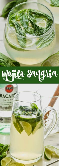 This Mojito Sangria combines two favorites! Mojitos and sangria pair perfectly to bring you the perfect party drink!