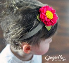 Felt Flower Headband - Hot Pink Ruffle Flower Headband for Babies, Toddlers, or Adults - 100% Handmade with Wool Felt via Etsy