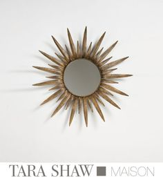 Tara Shaw Maison Italian Iron Sun Mirror Large and other furniture & decor products. Browse and shop related looks. Gold Sunburst Mirror, Sun Mirror, Sun Shop, Cottage Furniture, Rococo Style, Moroccan Decor, Home Accents, Mirrors, Iron