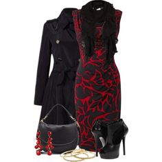 Phase Eight Marcie Dress, Black/Ruby.  Love the outfit~ I would pick different black heels though.