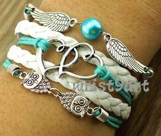 Heart to heart bracelet - two owls bracelet,two wings bracelet,wax cords leather bracelet,personalized bracelet on Etsy, $5.99