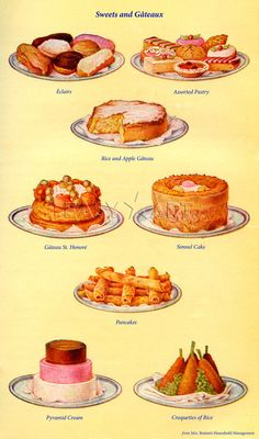 illustrarted food odd food beeton prints culinary graphics ptisserie delights illustration panitings hello jello desserts illustrations funky food