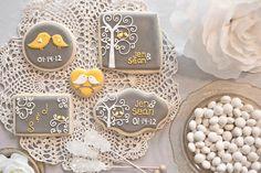 Wedding cookies - Jaclyn's Cookies - grey and yellow. Dates, initials, birds, modern