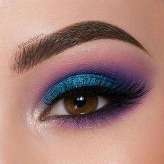 makeup eyeshadow makeup, makeup inspiration, b - 80s Eye Makeup, Purple Eye Makeup, Creative Eye Makeup, Makeup Eye Looks, Colorful Eye Makeup, Smokey Eye Makeup, Eyeshadow Makeup, Eyeshadow Palette, Blue Eyeshadow