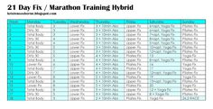 21 Day Fix Marathon Training Hybrid Schedule - Run 3 days a week and get stronger with 21 Day Fix for cross-training. Run less, but run stonger!