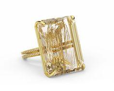 Resplendent 49 carat emerald cut, golden Rutilated Quartz gemstone, in an gold double band with carats of diamonds. Quartz Rutile, Rutilated Quartz Ring, Modern Jewelry, Custom Jewelry, Fine Jewelry, Antique Jewellery Designs, Jewelry Design, Jewelry Rings, Jewelry Accessories