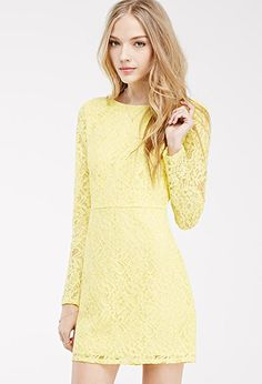 Could be cute with a belt! Floral Lace Sheath Dress | FOREVER21 - 2049259025