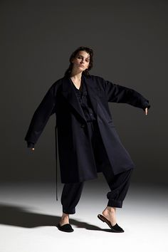 2020-21 A/W 005, Wool Gabardine Tailored Gown Coat    DRC-C04-100F, Wool Gabardine Tailored Collar Shirt   DRC-B03-100F, Wool Gabardine Harem Pants   DRC-P05-100 Collar Shirts, Harem Pants, 21st, Normcore, Gowns, Collection, Wool, Style, Fashion