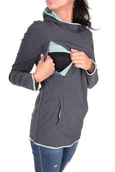 Viva la Mama   The cozy anthracite & mint long-sleeved nursing & maternity  hoodie