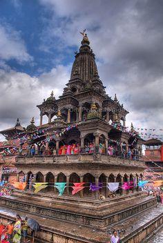 Krishna Mandir ( Shikhara Style ), Mangal Bazaar, Patan Durbar Square,  Kathmandu Valley.  http://www.lonelyplanet.com/nepal/around-the-kathmandu-valley/patan