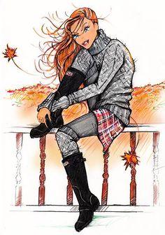 Fall fashion illustration  , Emmanuel Mauger fashion illustrator Illustrator, Autumn Fashion, Anime, Fictional Characters, Art, Fall Fashion, Illustrators, Anime Shows, Kunst