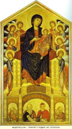 Cimabue. Madonna and Child Enthroned with Eight Angels and Four Prophets (Maestà).