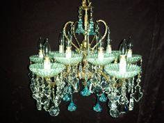 Stunning Vintage Antique 10 Light Brass Chandelier Redesign Sea Glass Aqua Color Czech  Murano Flowers Crystals Prisms