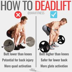 HOW TO DEADLIFT by @jmaxfitness - When many people start to deadlift they start off the movement like a squat and then they squat the deadlift up. - This is why so many people feel back pain while deadlifting is it's not the proper form. - When deadlifting your butt should be higher than your knees and you should lift with your butt not with your knees. - If the deadlift is feeling awkward check to see if you're squatting the deadlift instead of deadlifting the deadlift. - If someone you…