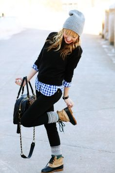 Black sweater over plad shirt - want to try this