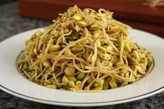 Korean - Kongnamul-muchim 콩나물무침 - Soybean sprouts with sesame oil & hot pepper flakes (Gochugaru 고추가루).