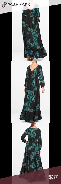 "New Eshakti Black Floral Crepe Maxi Dress L 14 New Eshakti black leaf print crepe maxi dress L 14  Measured flat: Underarm to underarm: 36"" Waist: 28-36"" Length: 54"" Sleeve: 21"" Eshaki size guide for 14 bust: 40""  Flirty surplice v neck, elastic smocked empire waist w/ pleating at bodice & waist, elastic cuff sleeves, inner shoulder bra strap keeps. Flounced hem maxi skirt, side seam pockets. Lined in polyester moss crepe. Polyester, woven crepe, soft drape, no stretch. Machine wash. New w…"