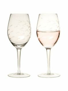 "Set 4 PCS 4"" Clear Glass Etched Swimming Fish Wine Stemmed Goblets Glasses 21oz by American Chateau. $38.99. Material: GLASS. You get 4 Pieces. Color: CLEAR. Size: 9.5"" H x 3.5"" L x 3.5"" W. Color: CLEAR; Material: GLASS; Size: 9 1/2"" H x 3 1/2"" L x 3 1/2"" W; You get 4 Pieces"