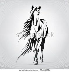 Vector silhouette of a horse – achetez cette image vectorielle sur Shutterstock …- . Horse Stencil, Animal Stencil, Stencil Art, Horse Drawings, Art Drawings Sketches, Horse Head, Horse Art, Horse Horse, Horse Silhouette