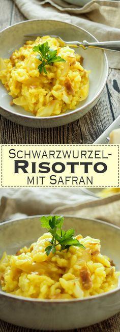 Ein einfaches Schwarzwurzel-Risotto Rezept mit Safran und Parmaschinken. Ein gesundes, leckeres, glutenfreis Gericht. Gesunde Rezepte aus frischen saisonal Zutaten, Elle Republic