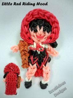 Little Red Riding Hood using the Rainbow Loom Rainbow Loom Charms, Rainbow Loom Bracelets, Rubber Band Crafts, Rubber Bands, Rainbow Loom Characters, Loom Love, Rainbow Loom Creations, Rubber Band Bracelet, Cute Charms