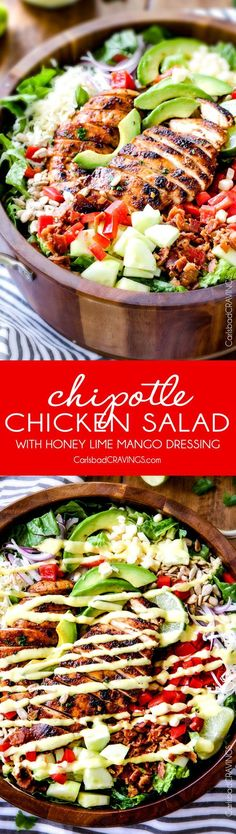 Chipotle Chicken Salad with Honey Lime Mango Dressing ? I actually CRAVE this salad its so good! The chipotle chicken is super juicy and flavorful with just the right amount of kick and the mango dressing is so sweet, tangy and refreshing and I love the Chipotle Chicken Salad Recipe, Chicken Salad Recipes, Salad With Chicken, Chipotle Recipes, Cilantro Lime Chicken, Cashew Chicken, Recipe Chicken, Healthy Salads, Healthy Eating