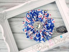 Fourth of July Red White and Blue Floral Hair Clip by babyzdesigns