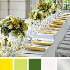 Yellow, Green, White, Silver Color Palette