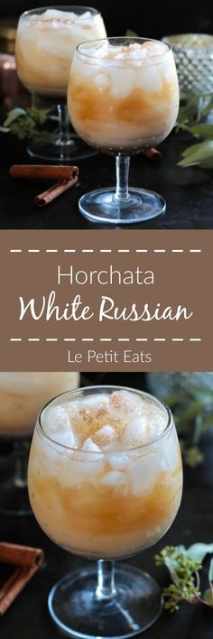 This yummy cocktail is a lighter take on the traditional White Russian, swapping out the heavy cream for homemade horchata.