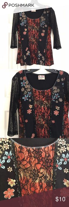 """Sequin & Lace Embellished Pullover Top 3/4-Sleeve Edista, Size Medium, Sequin & Lace Embellished Pullover Top with 3/4-Sleeves in Black poly Cotton Knit, scoop neck. Excellent Condition. Measures 14"""" across shoulders,  16"""" armpit to armpit, 23"""" long. BUNDLE and SAVE Edista Tops"""
