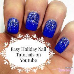 Cute and Easy Christmas Nail Art - Blue Holiday Snowflake Nail Art Designs