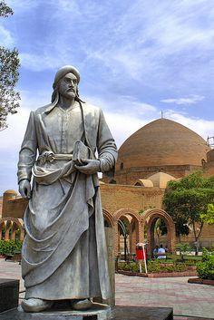 Tabriz, Azarbaijan, Iran - Statue of Khaqani, and Kabud (Blue) Mosque, Tabriz, Azarbaijan, Iran (Persia) | by eshare