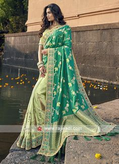 Online Shopping of Sea Green Art Silk Traditional Sangeet Wear Designer Weaving Work Half-Half Saree from SareesBazaar, leading online ethnic clothing store offering latest collection of sarees, salwar suits, lehengas & kurtis Banarasi Sarees, Silk Sarees, Mehndi, Green Sari, Green Blouse, Green Lehenga, Half And Half, Wedding Sutra, Vestidos