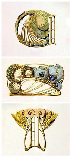 Ideas Art Nouveau Paris Hair Combs For 2019 Bijoux Art Nouveau, Art Nouveau Jewelry, Jewelry Art, Antique Jewelry, Vintage Jewelry, Jewellery Sketches, Jewelry Drawing, Jewelry Illustration, Illustration Art