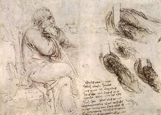 A seated man, and studies and notes on the movement of water, 1510, Leonardo Da Vinci Size: 15.4x21.7 cm Medium: ink, paper
