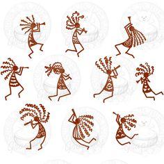 Limited set of 10 Kokopelli Dancers Indian Symbols, Sketch Tattoo Design, Native American Symbols, Southwest Art, Gourd Art, Elements Of Art, Aboriginal Art, Native Art, Tribal Art