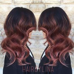 Rose gold ombre hair color