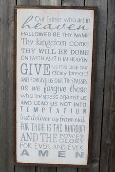 """Handpainted """"The Lord's Prayer"""" sign"""